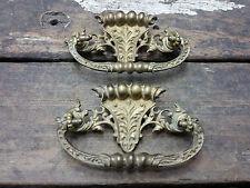 2 VTG Old FANCY Ornate Cast Brass Victorian Deco Pull Handle Drawer Dresser Desk