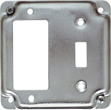 Raco  Square  Steel  2 gang Box Cover  For 1 GFCI Receptacle and 1 Toggle Switch