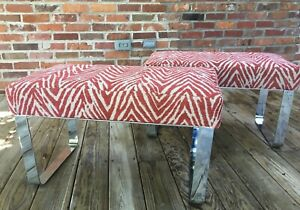 VINTAGE MILO BAUGHMAN STYLE UPHOLSTERED CHROME BENCH  - 2 Available