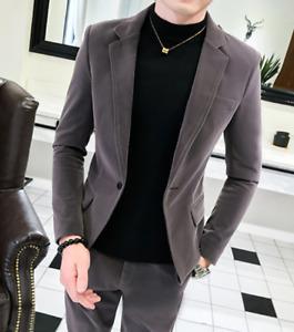Velvet Mens Slim Formal Dress Show Jacket+Pants 2Pcs Suit Blazer One Button Set