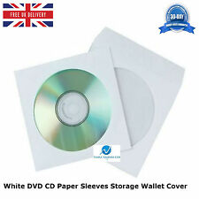 50 pcs White DVD CD Paper Sleeves Storage Wallet Cover Case With Window & Flap