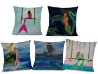 "18"" Cushion Cover Pillow Mermaid Home Decor Cotton Linen Sofa Car Pillow Case"