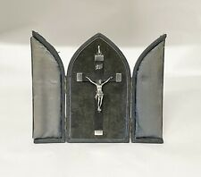 More details for  antique silver and wood cased silver crucifix cross bishops