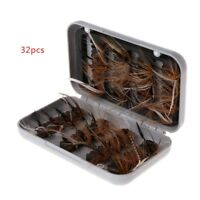 32 Pcs/Box Fly Fishing Baits Salmon Feather Lure Dry Flies Insects Trout Nymphs