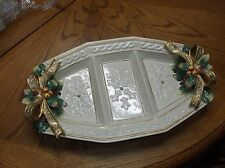"""Fitz & Floyd Christmas Snowy Woods 3 Part Relish Serving Tray Large 17.75"""" Mint"""