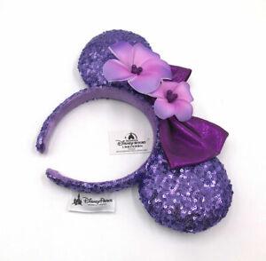 Purple Plumeria Disney Parks Sequins Bow Minnie Ears Aulani Hawaii Headband