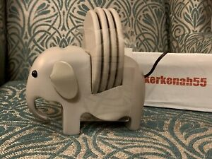 Next Set Of 4 Grey Coasters With Elephant Holder RARE