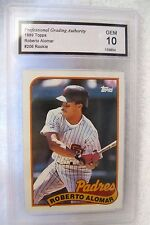 ROBERTO ALOMAR RC 1989 Topps Rookie Card#206 Graded GEM PGA10-Padres Rookie
