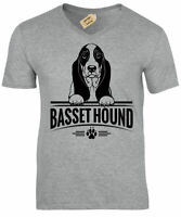 Basset Hound T-Shirt Mens dog lover gift present V-Neck Top