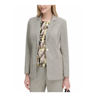 Calvin Klein Womens Textured One-Button Blazer Jacket Khaki Petite Size 14P New
