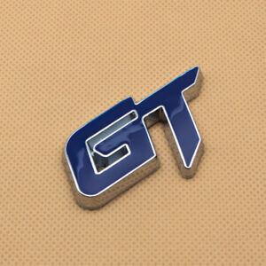 Blue Coated Side Wing GT Metal Badge Decal Chrome Rear Trunk Emblem Sticker Logo
