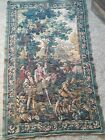 1800s French Motif Wall Tapestry/ Hunting Scene, Hunters, Horses, Dogs & Castle