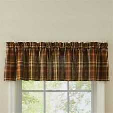 Country Bountiful Valance 72X14 Brown Green Orange Yellow Cream Plaid Cotton