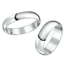 9ct White Gold His & Hers Wedding Bands 4 & 6mm Rings