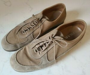 Prada Sneakers Shoes Suede Leather & Canvas Beige Tan Sz 11 (US 12)