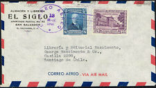2367 EL SALVADOR TO CHILE AIR MAIL COVER 1946 SAN SALVADOR - SANTIAGO
