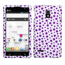 T-Mobile LG Optimus L9 HARD Protector Case Snap On Phone Cover Purple Mixed Dots
