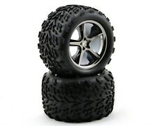 Traxxas Gemini Black Chrome Wheel Talon Tire (2) E-Revo Revo Maxx 14mm TRA5374A