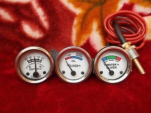 Oliver Tractor Temp + Oil Pressure + Ammeter Gauge (Set) White Face Early