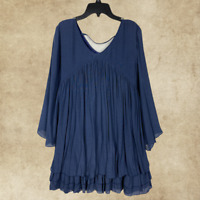 Plus Size Babydoll Boho Peasant Navy Ruffle Top Tunic Blouse  XL 1XL 2XL