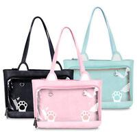 Cute Cat Feet Print Handbag Transparent Lolita Casual Shoulder Bag Itabag Gift
