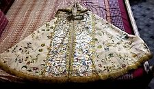 Antique French17thC Cope Hand Embroidery Catholic Priest Vestments Church Clergy