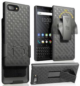 Black Rubberized Case Kickstand Cover + Belt Clip Holster for BlackBerry Key2