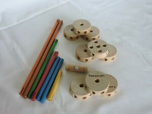 Group of Vintage Tinkertoy Pieces, Rods and Wheels