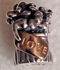 Authentic Pandora Sterling Silver And 14K Gold Love Bouquet Flowers Charm 790441