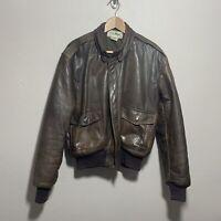 LL Bean Mens Brown Leather Bomber Jacket Vintage USA Sz 40 Large Distressed