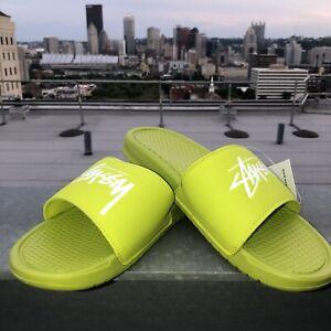 Nike Benassi / Stussy Slides. Stussy Volt. Bright Cactus / White. Mens 12.