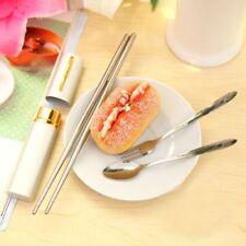 Travel 3in1 Tableware Stainless Steel Fork Spoon Chopsticks Pen Cutlery Set