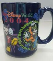 Disney World Mickey Mouse Coffee Mug Cup Minnie Pluto Goofy Black Souvenir 2004