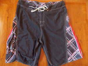 Burnside Board Shorts, Black with red, white & gray stripes. Men's size 36
