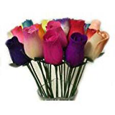 Everlasting Flower Bouquet,2 Dozen Wooden Roses Mixed Colours 24 Stems Bud Roses
