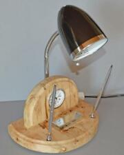 Reclaimed Burr Sycamore Desk Lamp Stand with Chrome Pens and holders with clock.