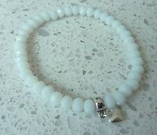 UK White Stretch Bracelet Glass Crystal Bead  Heart Charm (7mm) Beads 6x5mm Gift