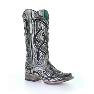 Corral Ladies Silver Overlay & Embroidery Square Toe Boots E1598