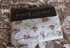 NEW Ralph Lauren 'Emma' Shabby Chic Blue Stripe Roses Ruffled Flat Full Sheet