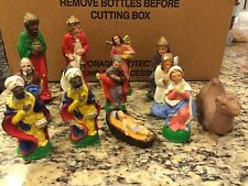 RARE VINTAGE 13 PIECE CHALK WARE CHRISTMAS NATIVITY SET! MADE IN ITALY VERY NICE