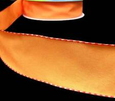 """5 Yds Solid Orange Side Stitched Edge Wired Ribbon 1 1/2""""W"""