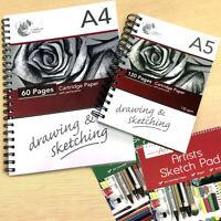 Sketch Book Drawing Pad Spiral White Cartridge Paper A4 A5 Art Home School Kids