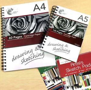 Sketch Book Artist Drawing Pad Spiral White Cartridge Paper A4 A5 Art Home Craft
