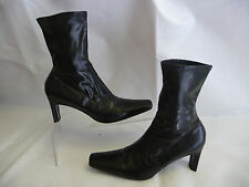 CASADEI Ankle Calf Boots Sz 10B Black Leather Heels Italy Slip On Rubber Sole