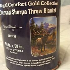 Bull Elk Sherpa Blanket Throw Very Thick Very Soft NEW 50 x 60 inches