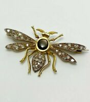Exquisite Vintage Diamond 14k Gold Insect Brooch (5151)