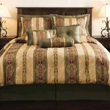 Green Burgundy Red Gold Geometric Striped 7 piece Comforter Set King Size