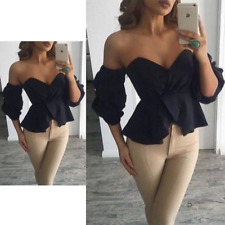 Womens Bardot Off Shoulder Top Frill Ruffle 3/4 Bell Sleeves Zip Back Blouse UK