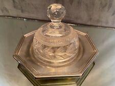 Cloche à dessert ou à fromage en cristal taillé sur métal argenté