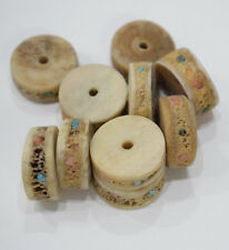 Beads Chinese Bone Inlaid Turquoise Coral Tea Dyed Rondelles 15mm